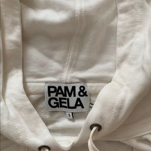 Pam & Gela V Neck Sweatshirt in White-small